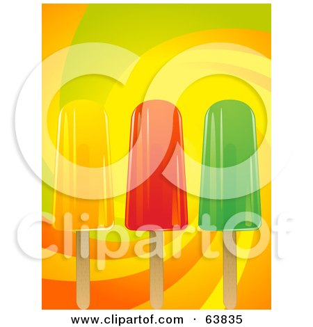 Royalty-Free (RF) Clipart Illustration of Three Fruit Popsicles On A Colorful Swirl Background by elaineitalia