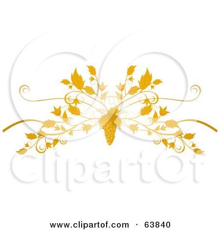 Royalty-Free (RF) Clipart Illustration of an Ornate Grape And Vine Flourish On White by elaineitalia