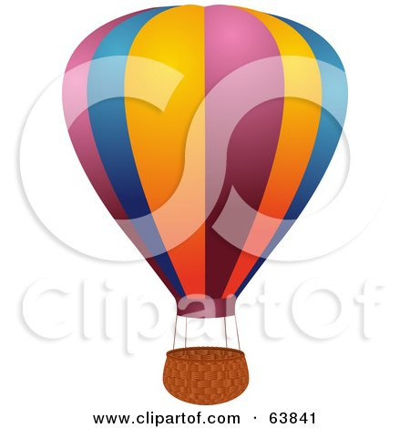 Royalty-Free (RF) Clipart Illustration of a Colorful Hot Air Balloon With An Empty Basket On White by elaineitalia