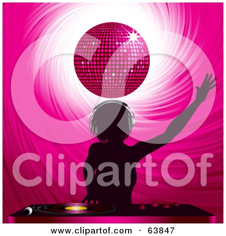 Royalty-Free (RF) Clipart Illustration of a Silhouetted Female Dj Holding An Arm Up And Mixing Records Under A Pink Disco Ball by elaineitalia