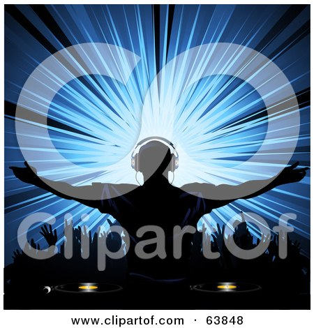 Royalty-Free (RF) Clipart Illustration of a Silhouetted Dj Wearing Headphones And Holding His Arms Out Over A Dance Floor, With A Blue Burst by elaineitalia