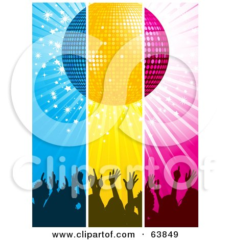 Royalty-Free (RF) Clipart Illustration of Blue, Yellow And Pink Panels Of Silhouetted Hands Under A Disco Ball by elaineitalia