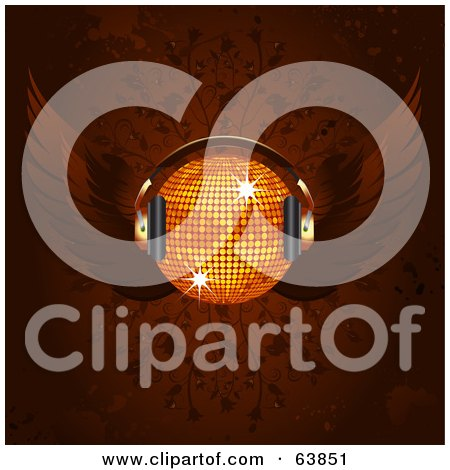 Royalty-Free (RF) Clipart Illustration of a Winged Orange Disco Ball With Headphones, On A Floral Background by elaineitalia