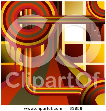Royalty-Free (RF) Clipart Illustration of a Funky Retro Background Of Rainbow Circles And Lines With Mosaic by elaineitalia