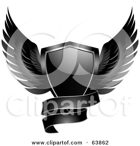 Royalty-Free (RF) Clipart Illustration of a Black Shiny Winged Shield With A Curvy Banner by elaineitalia