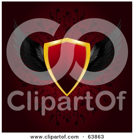 Royalty-Free (RF) Clipart Illustration of a Red Winged Shield On A Deep Red Floral Background by elaineitalia