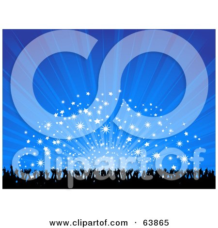 Royalty-Free (RF) Clipart Illustration of a Blue Party Background Of Silhouetted Hands And Fireworks by elaineitalia