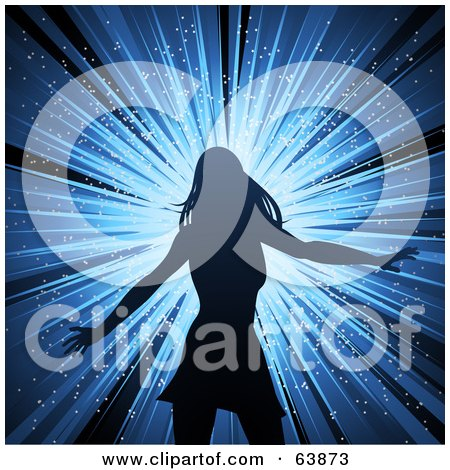 Royalty-Free (RF) Clipart Illustration of a Silhouetted Female Disco Diva Dancer Over A Blue Burst by elaineitalia
