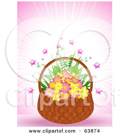 Royalty-Free (RF) Clipart Illustration of a Wicker Basket Of Pink And Yellow Flowers, With Stars On Pink by elaineitalia