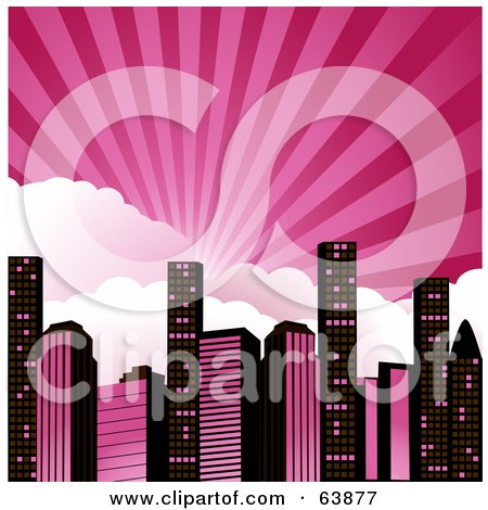 Royalty Free RF Clipart Illustration Of Rays Of Light Bursting Over Clouds Above A Pink And Black City