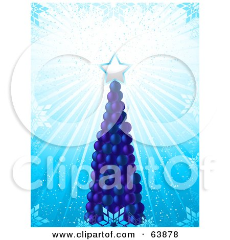 Royalty-Free (RF) Clipart Illustration of a Tall Blue Christmas Tree Made Of Baubles, With A Shining Star by elaineitalia