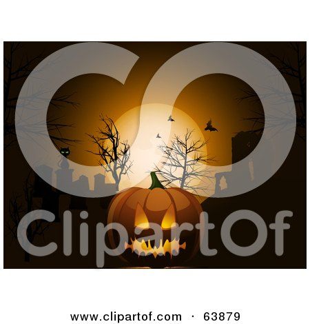 Royalty-Free (RF) Clipart Illustration of a Scary Halloween Pumpkin Against An Orange Moon And Bats In The Night Sky by elaineitalia