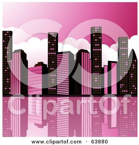 Royalty-Free (RF) Clipart Illustration of a City Skyline Of Black And Pink Skyscrapers Reflecting In Water by elaineitalia