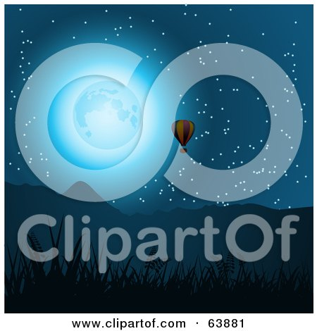 Royalty-Free (RF) Clipart Illustration of a Hot Air Balloon Near Mountains, In The Moonlight by elaineitalia