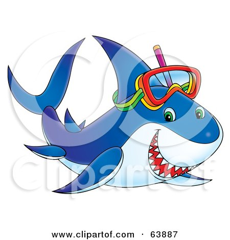 Royalty-Free (RF) Clipart Illustration of a Happy Blue Snorkeling Shark by Alex Bannykh