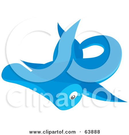 Royalty-Free (RF) Clipart Illustration of a Blue Swimming Hammerhead Shark by Alex Bannykh