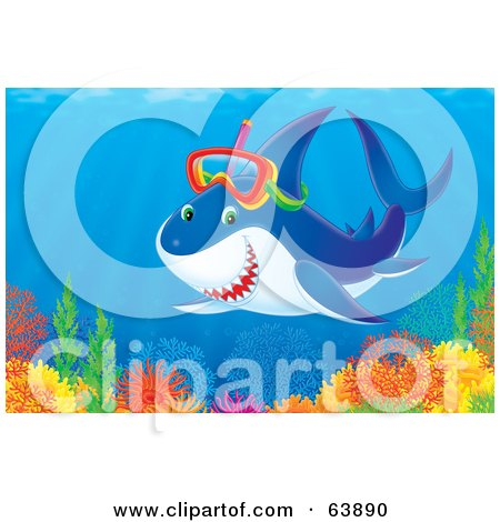 Royalty-Free (RF) Clipart Illustration of a Snorkeling Shark Above A Colorful Reef by Alex Bannykh