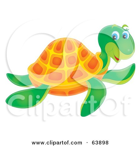 Royalty-Free (RF) Clipart Illustration of a Friendly Green And Orange Airbrushed Sea Turtle Swimming by Alex Bannykh