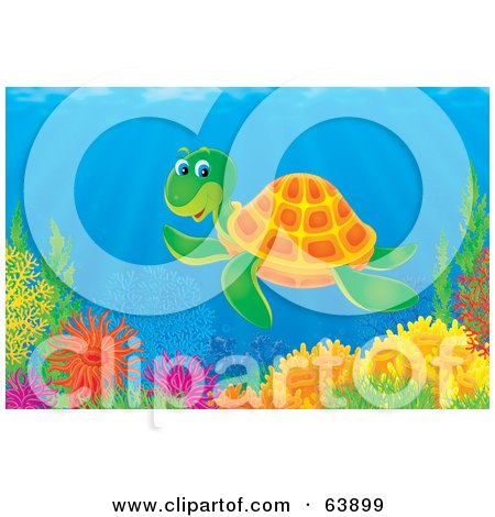 Royalty-Free (RF) Clipart Illustration of an Underwater Scene Of A Happy Sea Turtle Swimming Over A Coral Reef by Alex Bannykh