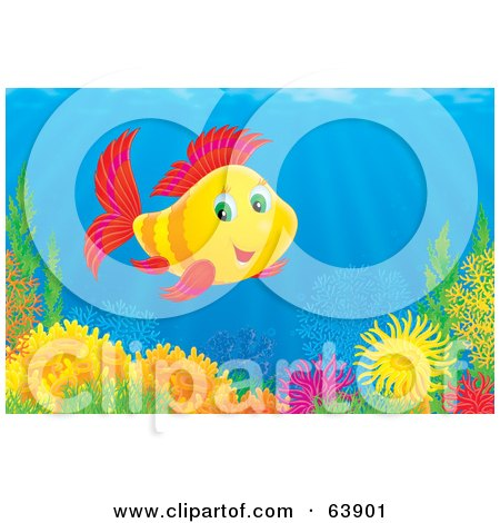 Royalty-Free (RF) Clipart Illustration of an Underwater Scene Of A Happy Red And Yellow Marine Fish Over A Coral Reef by Alex Bannykh