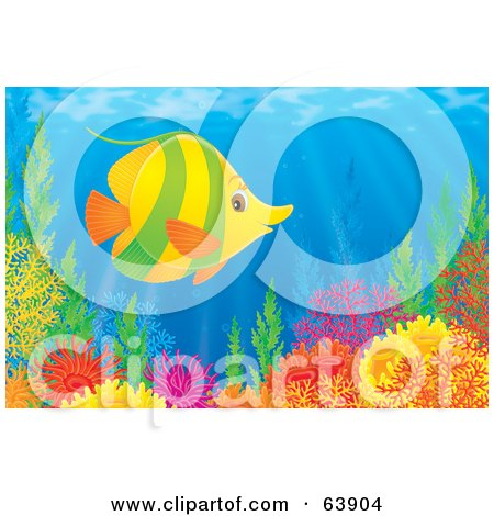 Royalty-Free (RF) Clipart Illustration of an Underwater Scene Of A Happy Green And Yellow Marine Fish Over A Coral Reef by Alex Bannykh