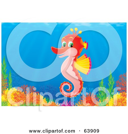 Royalty-Free (RF) Clipart Illustration of an Underwater Scene Of A Happy Red Seahorse Over A Coral Reef by Alex Bannykh