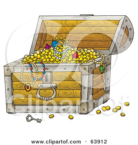 Royalty-Free (RF) Clipart Illustration of an Open Treasure Chest Revealing Jewels, Necklaces And Gold by Alex Bannykh