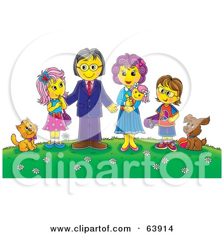 Royalty-Free (RF) Clipart Illustration of a Friendly Family And Their Pets On A Hill With Flowers by Alex Bannykh