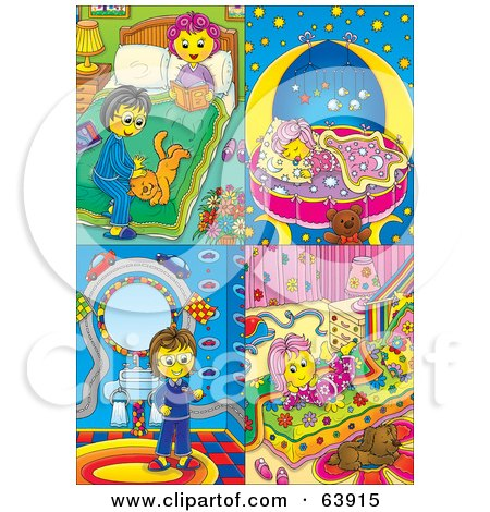 Royalty-Free (RF) Clipart Illustration of a Digital Collage Of Four Scenes; Couple Getting Ready For Bed, Baby Sleeping, Woman In A Bathroom, Girl Resting On Her Bed by Alex Bannykh