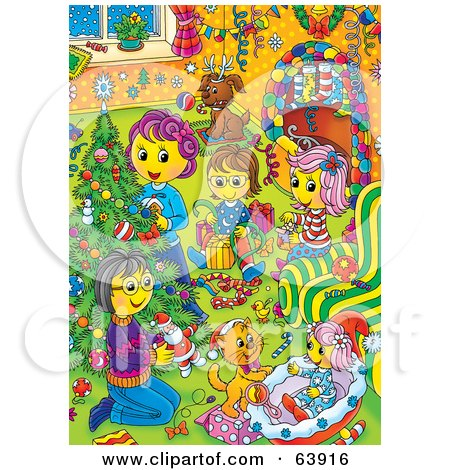 Royalty-Free (RF) Clipart Illustration of a Happy Family Opening Presents Around A Christmas Tree by Alex Bannykh