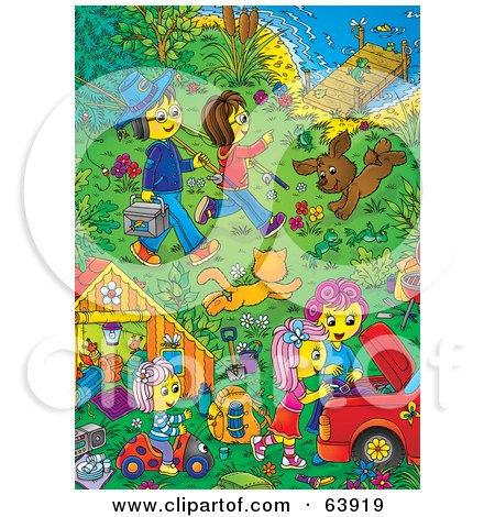 Royalty-Free (RF) Clipart Illustration of a Happy Family And Pets In A Riverfront Yard by Alex Bannykh