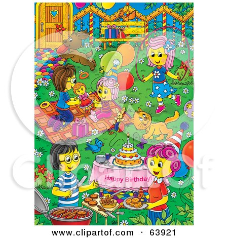 Royalty-Free (RF) Clipart Illustration of a Busy Birthday Party Yard With Kids Playing, Women Talking And Pets by Alex Bannykh