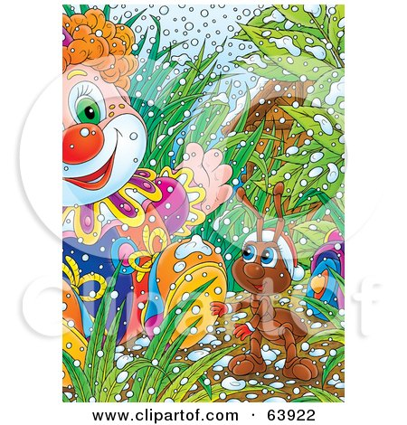 Royalty-Free (RF) Clipart Illustration of a Christmas Ant Discovering A Toy Clown In The Grass by Alex Bannykh