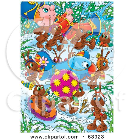 Royalty-Free (RF) Clipart Illustration of a Group Of Ants Carrying A Bauble, Airplane And Toy Soldier Through The Snow by Alex Bannykh