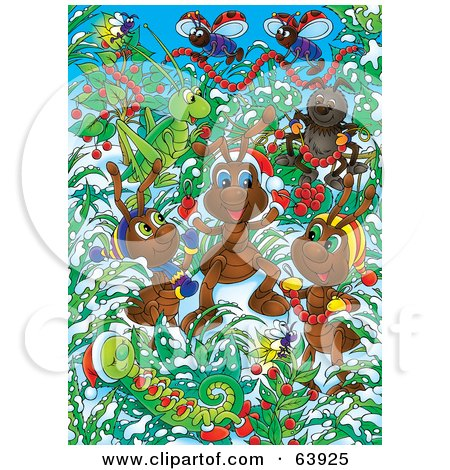 Royalty-Free (RF) Clipart Illustration of Festive Christmas Bugs Decorating Plants In The Snow by Alex Bannykh