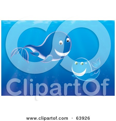Royalty-Free (RF) Clipart Illustration of an Underwater Scene Of A Mother And Baby Whale In Blue Water by Alex Bannykh
