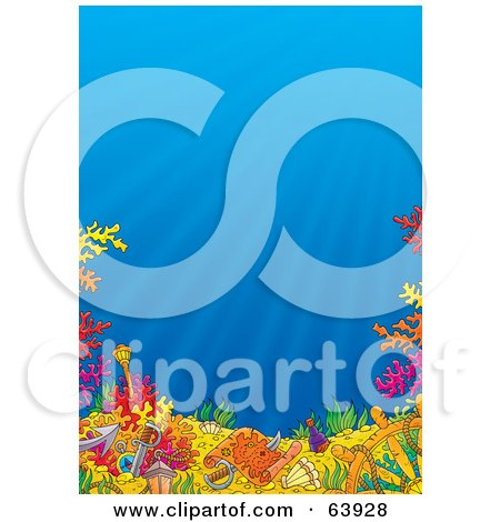 Royalty-Free (RF) Clipart Illustration of an Underwater Seascape Scene With Blue Water And Colorful Corals by Alex Bannykh