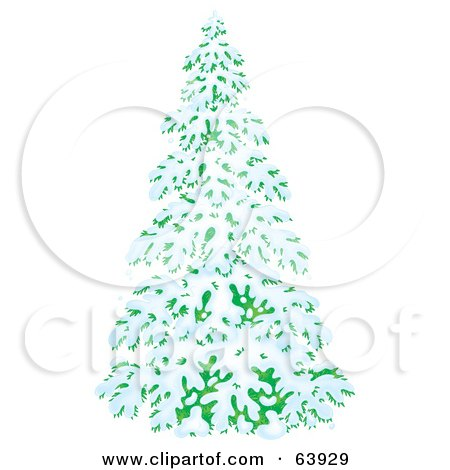 Royalty-Free (RF) Clipart Illustration of a Lush Airbrushed Evergreen Tree Flocked In Snow In The Winter by Alex Bannykh