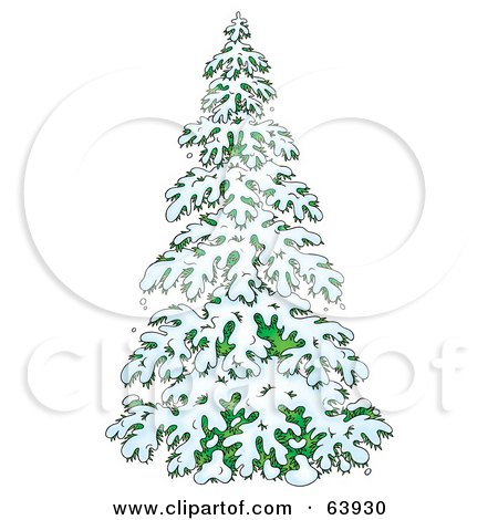 Royalty-Free (RF) Clipart Illustration of a Lush Evergreen Tree Flocked In Snow In The Winter by Alex Bannykh