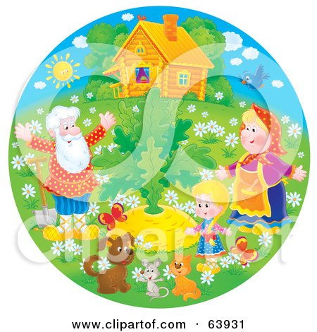 Royalty-Free (RF) Clipart Illustration of a Round Scene Of Grandparents, A Child And Animals Around A Large Turnip by Alex Bannykh