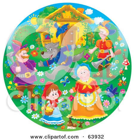 Royalty-Free (RF) Clipart Illustration of a Round Scene Of Little Red Riding Hood by Alex Bannykh