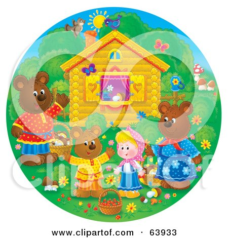 Royalty-Free (RF) Clipart Illustration of a Round Scene Of Bears And A Girl Outside A Cottage by Alex Bannykh