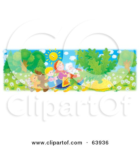 Mouse, Cat, Dog, Girl, Grandmother And Grandfather Pulling A Giant Turnip Posters, Art Prints