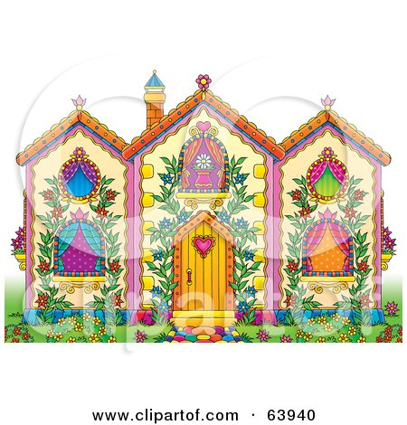 Royalty-Free (RF) Clipart Illustration of a Pretty Whimsical House With Lush Gardens And Vines by Alex Bannykh