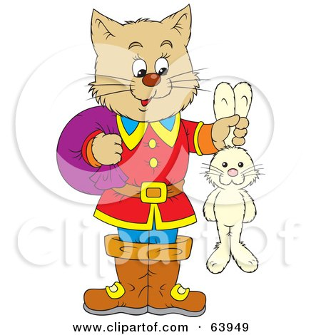 Royalty-Free (RF) Clipart Illustration of a Cat, Puss, Holding A Rabbit By The Ears by Alex Bannykh