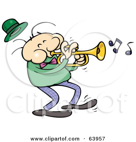 Royalty-Free (RF) Clipart Illustration of a Trumpet Musician In A Dark Green Shirt by gnurf