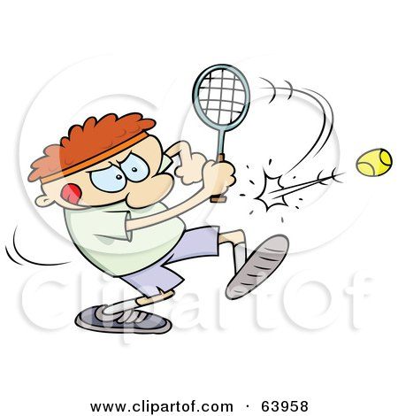 Royalty-Free (RF) Clipart Illustration of a Focused Man Swinging A Racket To Hit A Tennis Ball by gnurf