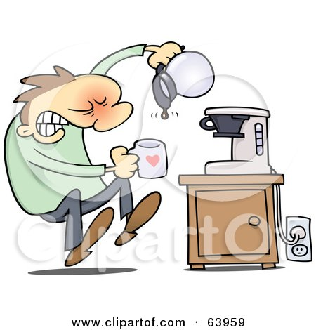 Royalty-Free (RF) Clipart Illustration of a Flustered Man Discovering That The Coffee Pot Is Empty by gnurf