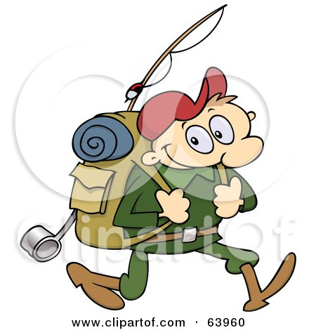 Royalty-Free (RF) Clipart Illustration of a Happy Male Hiker Carrying Camping Gear by gnurf