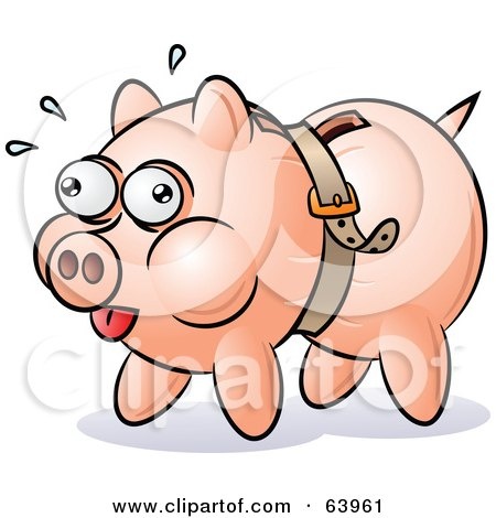 Royalty-Free (RF) Clipart Illustration of a Piggy Bank Being Squeezed By A Belt by gnurf